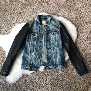 ESPRIT Denim Jacket with Leather Coated Sleeves